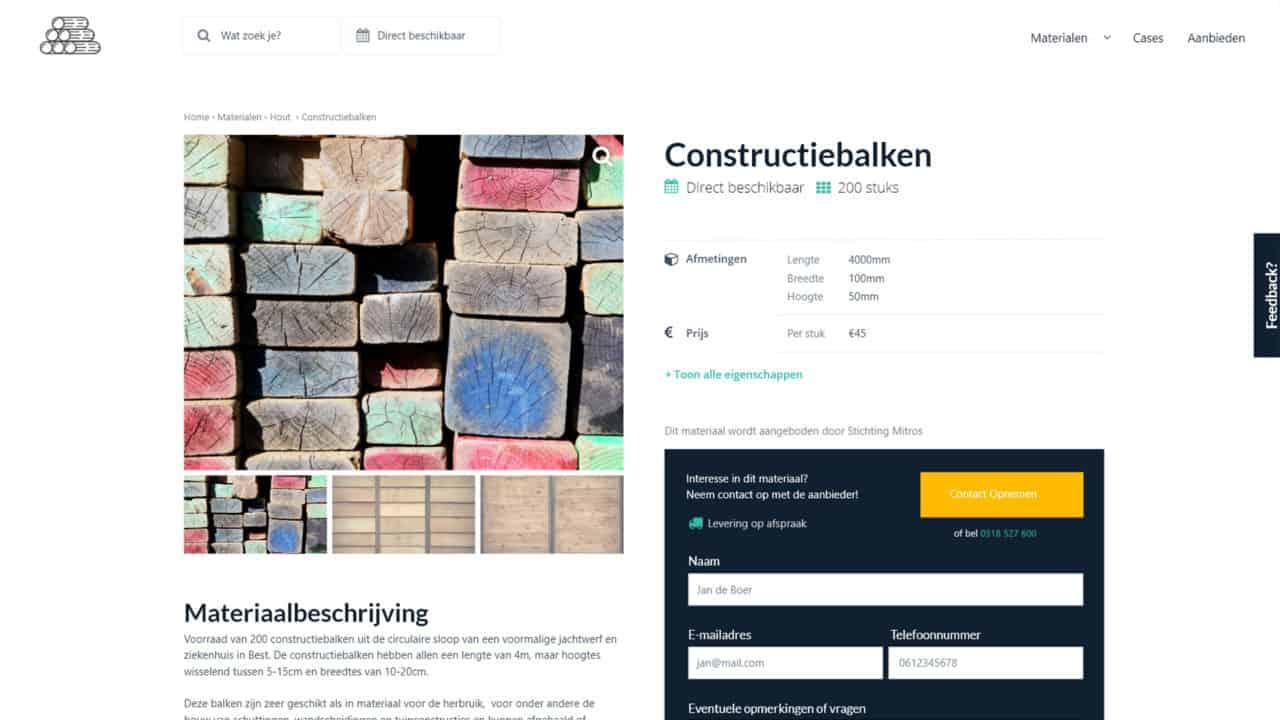 Platform for Circular Building Materials - CreativeSolvers